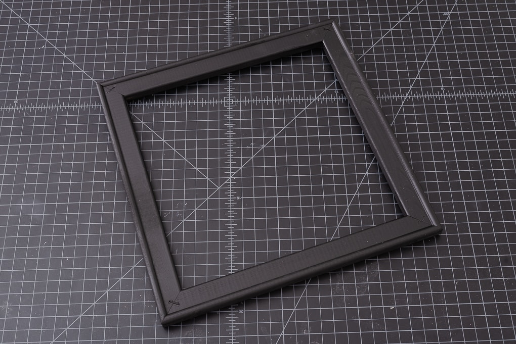 wooden frame painted black