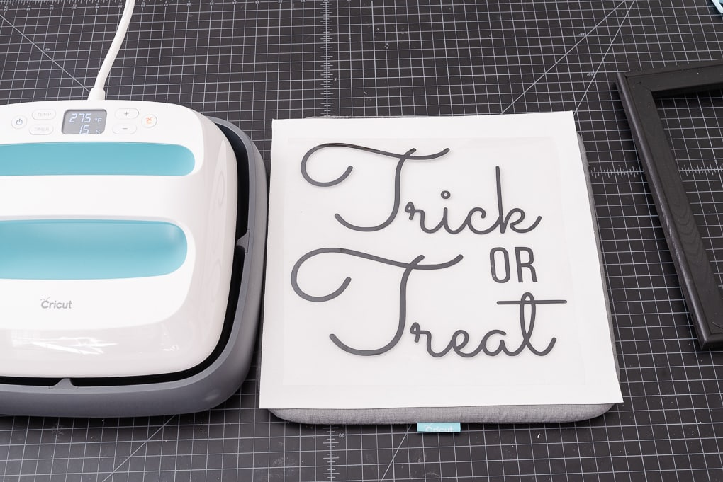 white canvas and trick or treat iron on vinyl design