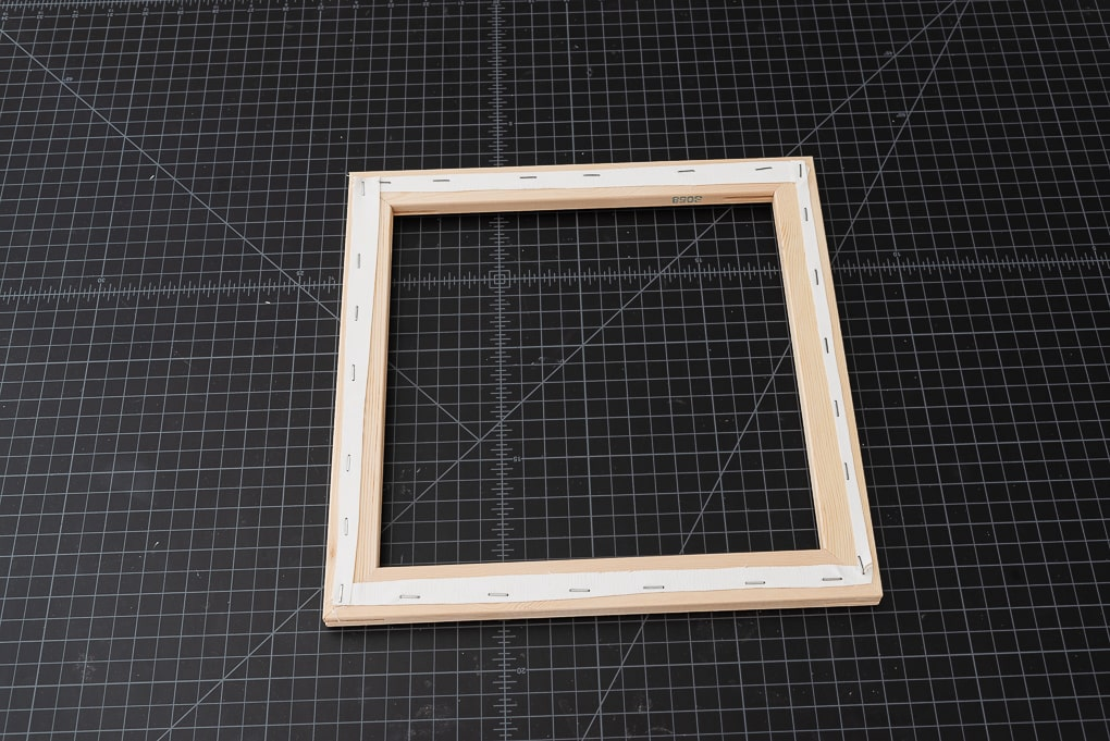 wooden frame from square canvas