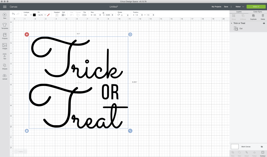 trick or treat design inside cricut design space