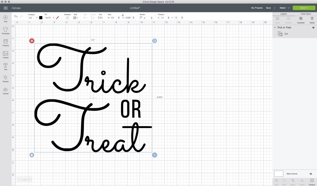 trick or treat design inside cricut design space