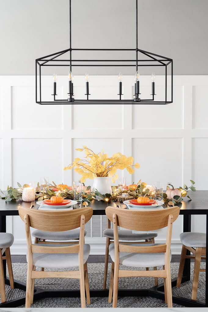 modern thanksgiving table decor simple and easy dining room view