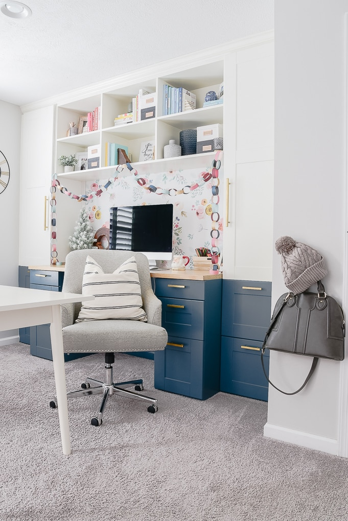 home office ikea hack decorated with colorful Christmas decorations