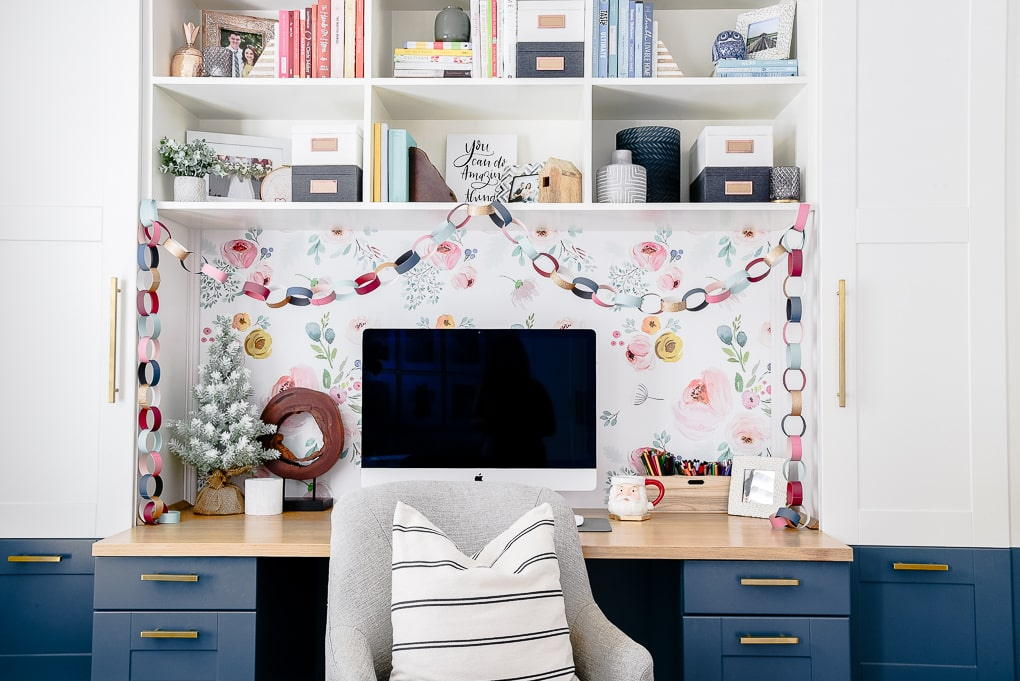 modern home office built in desk ikea hack with Christmas decorations