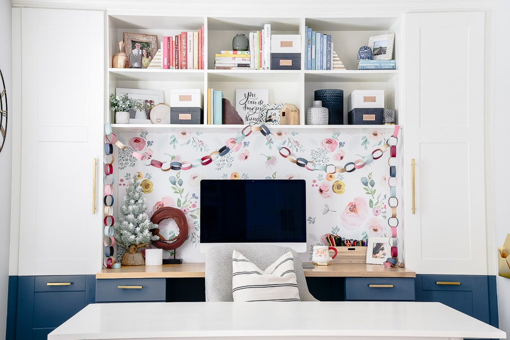home office ikea hack built in desk decorated for Christmas