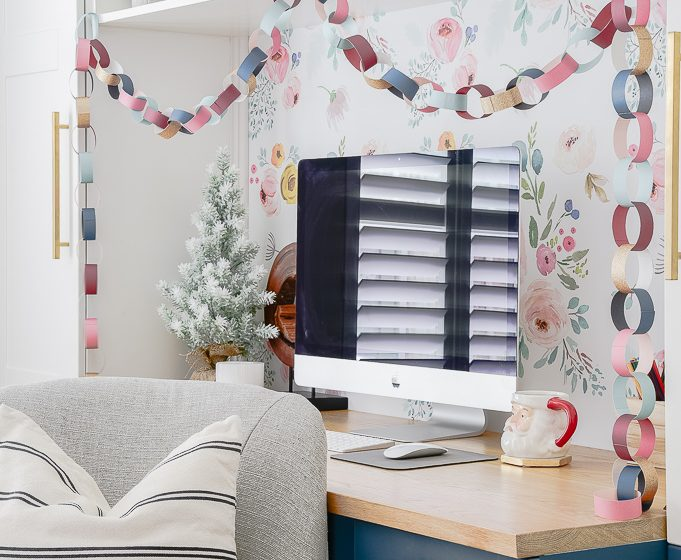 colorful Christmas paper chain on a built in home office desk