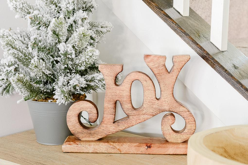 natural wooden joy figurine Christmas decor