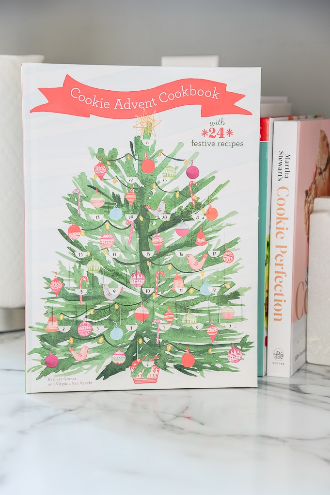 Cookie Advent Calendar book in Christmas kitchen