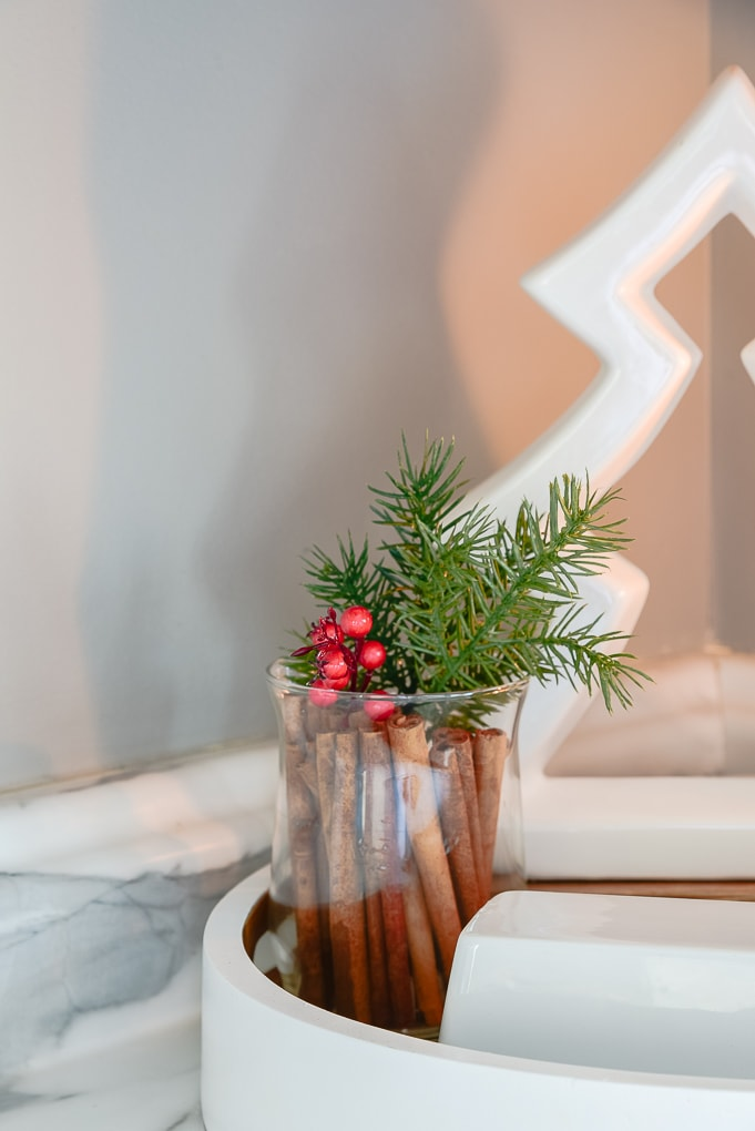 clear small vase with cinnamon sticks and Christmas greenery
