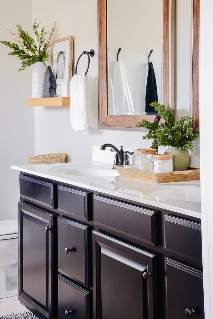 master bathroom cabinets decorated for christmas