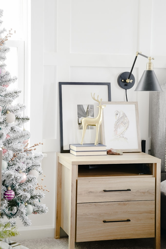 master bedroom nightstand decorated for Christmas