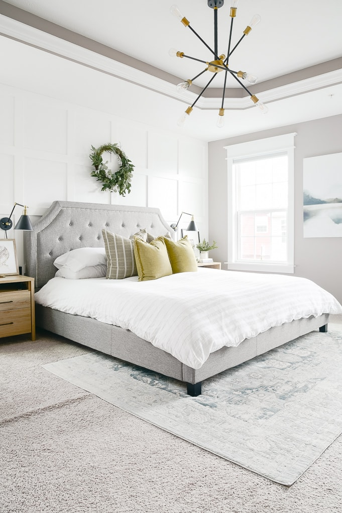 modern natural christmas master bedroom decorated