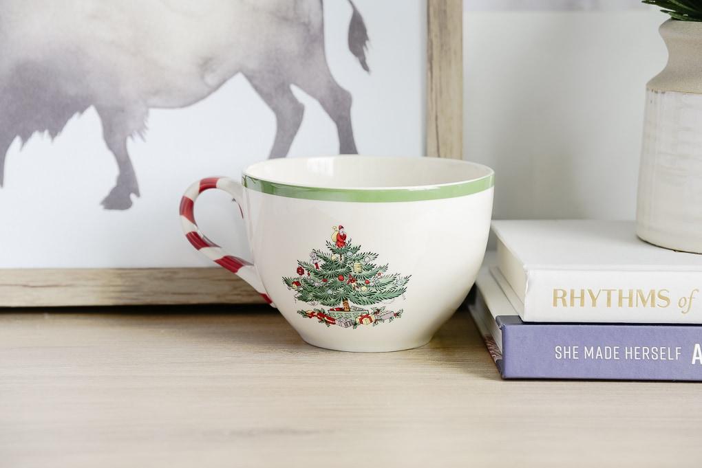 spode christmas mug on nightstand