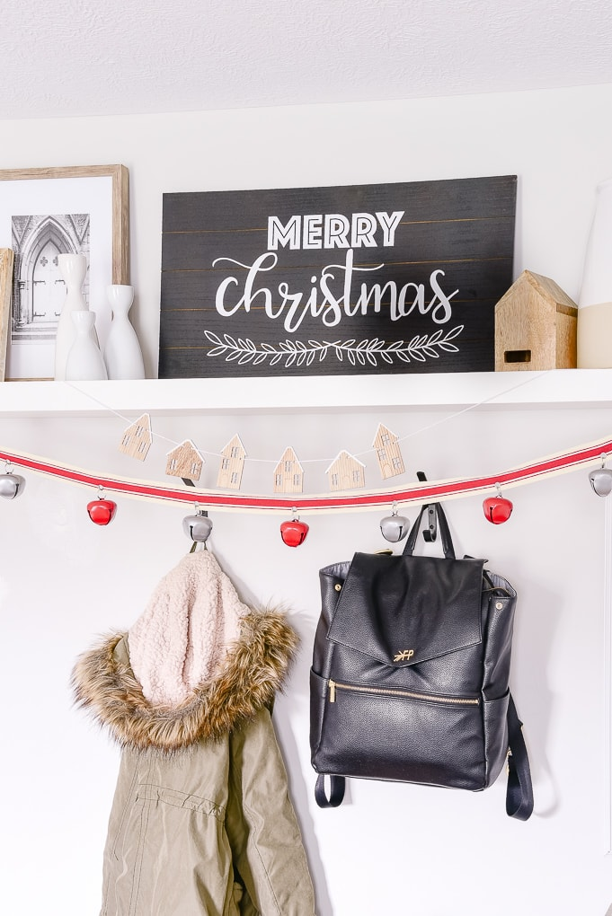 merry christmas black and white sign in Christmas mudroom
