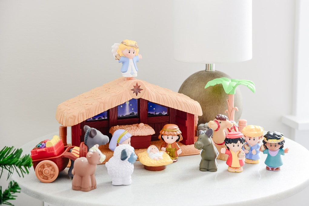 little people baby nativity set in nursery for christmas