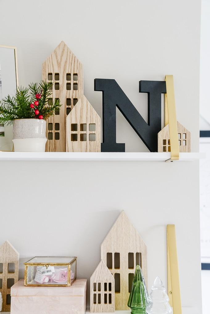 target natural wooden houses winter village on white shelves decor