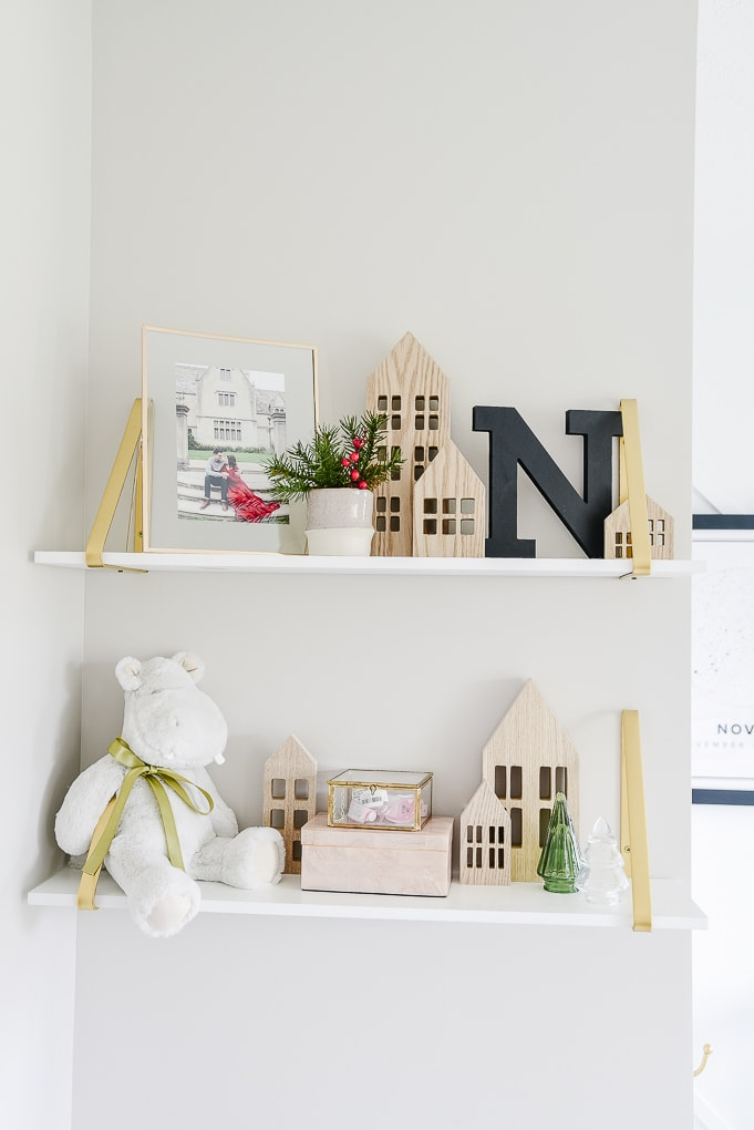 christmas shelf decor target natural wooden houses winter village