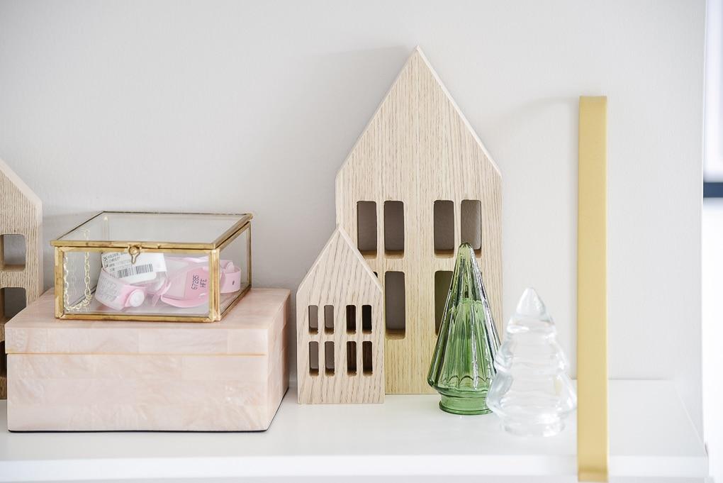 target natural wooden houses on shelves