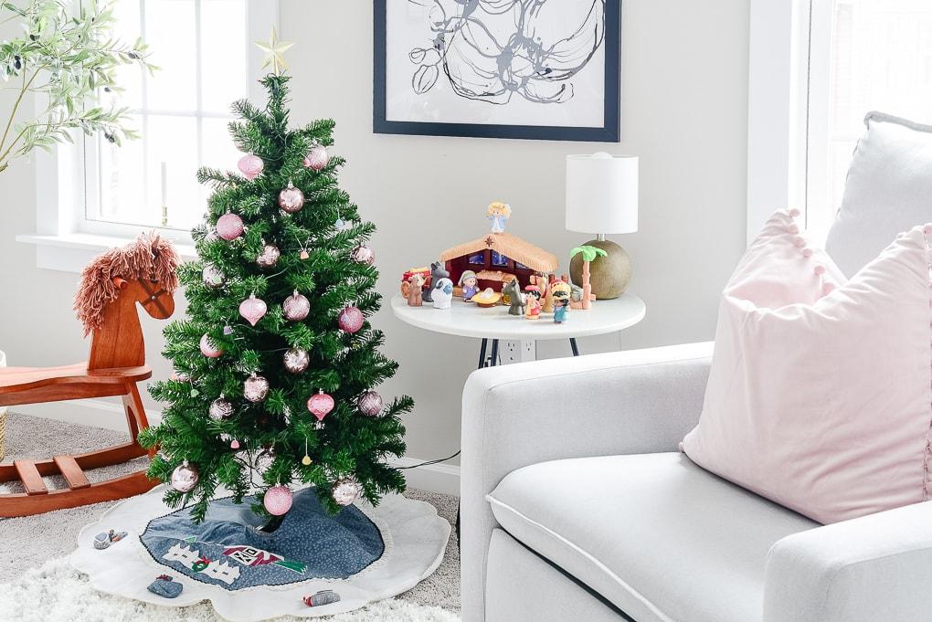 small kids christmas tree in nursery