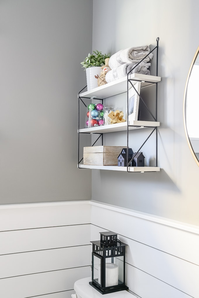 powder room shelves decorated for Christmas