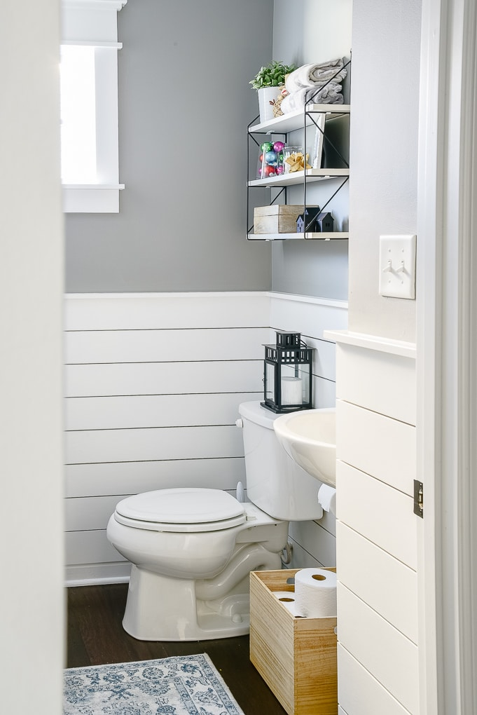 simple and clean powder room decorated for Christmas