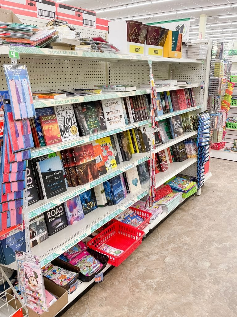 shelves of hardcover books at the dollar tree