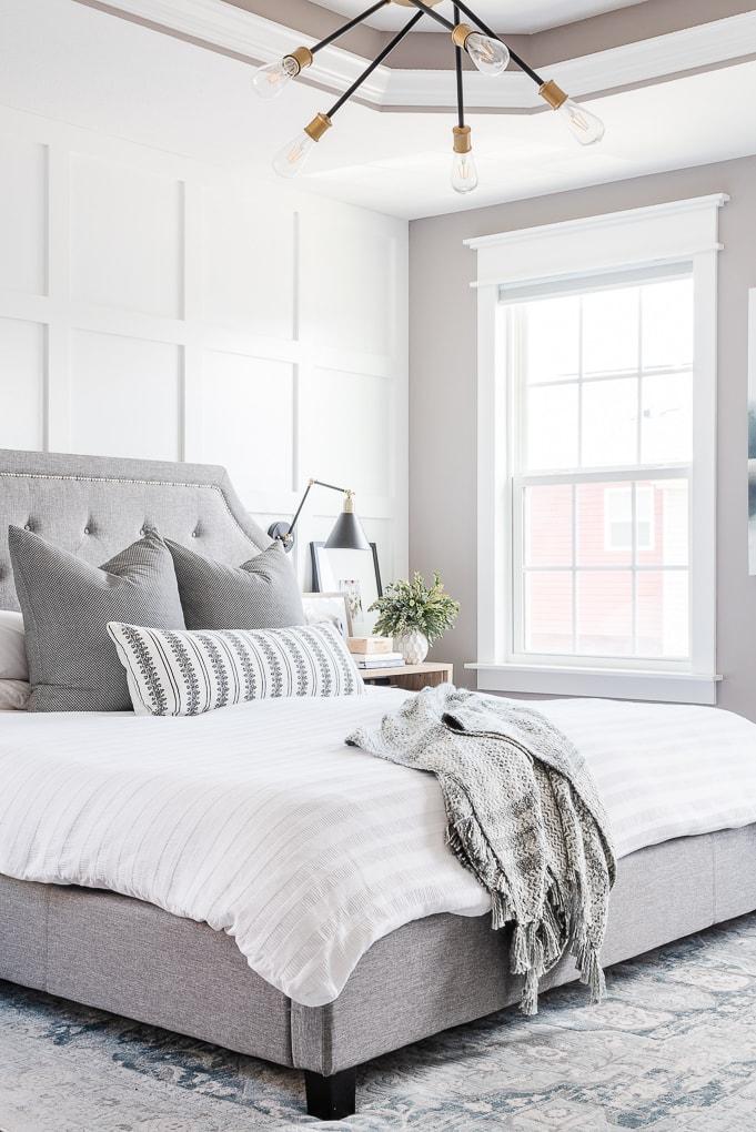white bed in gray master bedroom