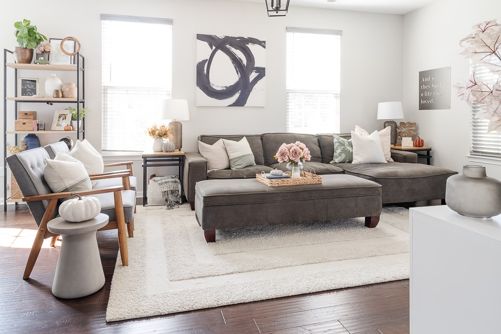 Valspar Tempered Gray paint in living room home decor