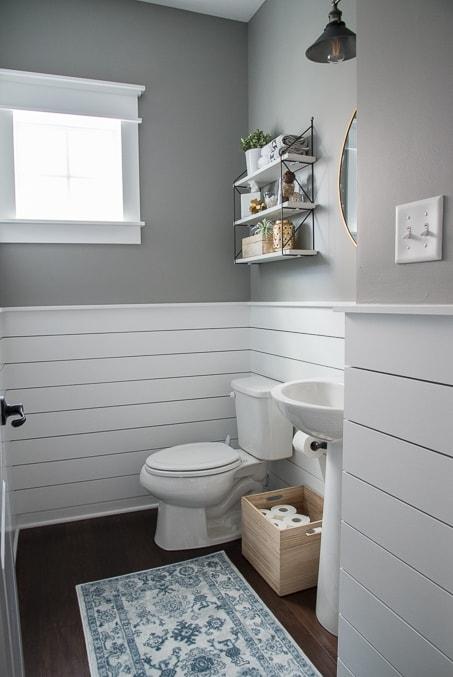 Valspar Hazy Stratus paint in bathroom powder room home decor
