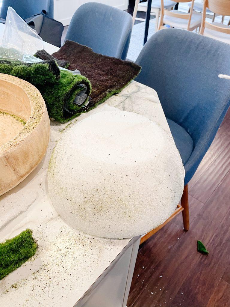 foam half ball on kitchen island countertop