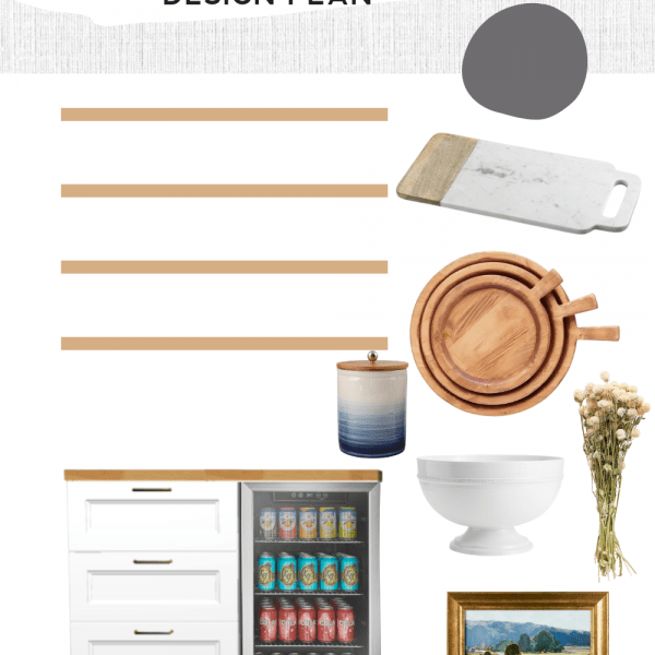 mood board design plan for a modern classic dining room nook area