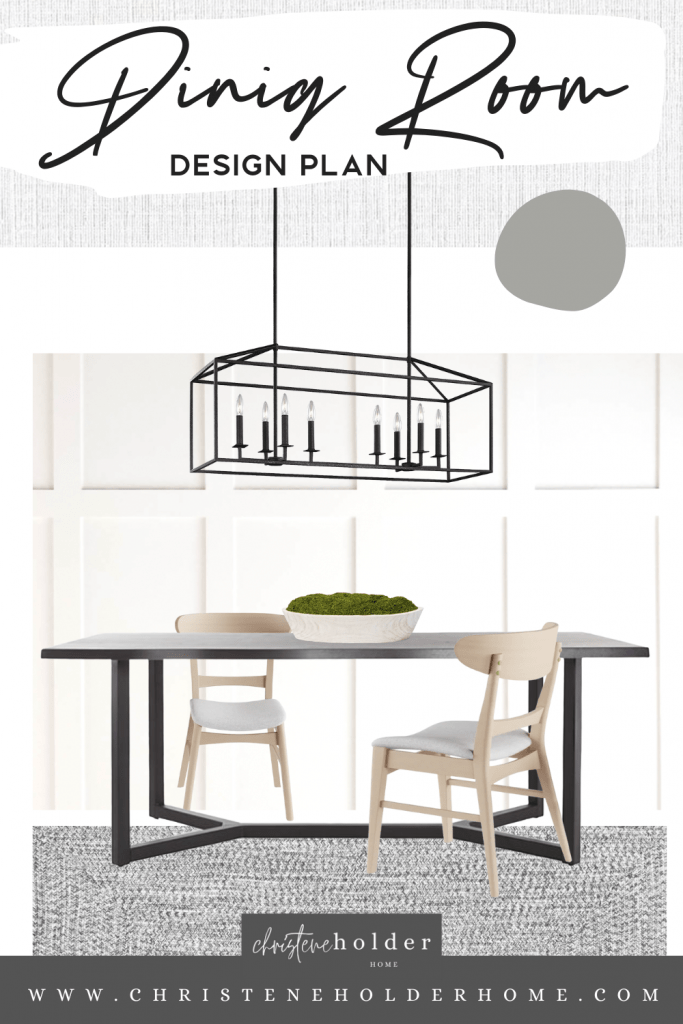 mood board design plan for a modern classic dining room table area